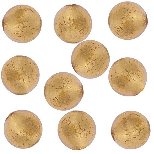 - Rosa, Pink Round 6mm 24kt Gold Foil Murano Glass Bead Encased, 10 Pieces