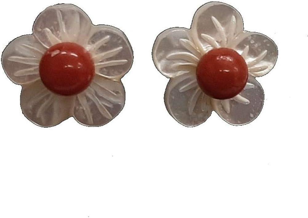 Pendientes Flor Madreperla, Coral rojo y Plata de Ley. Estuche incluido