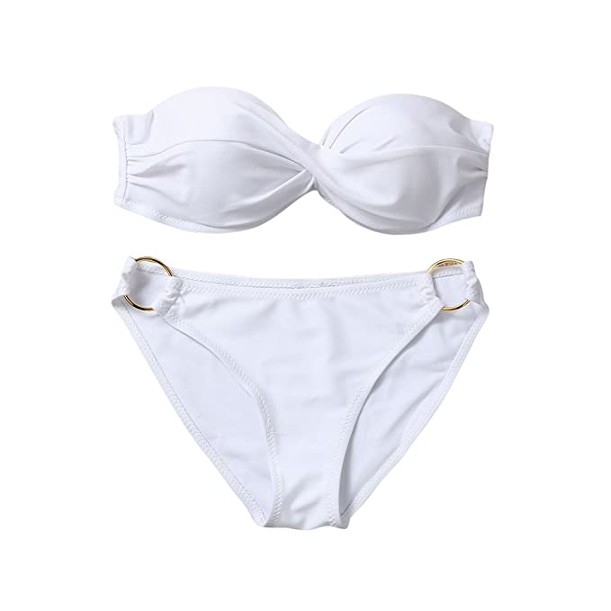 Bestgift Womens Twist Front O-ring Bottom Ruffle Bandeau Bikini Set