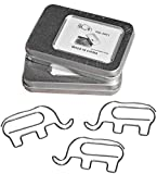 HiQin Cool Paper Clips Elephant Shaped - Funny Office School Supplies Bookmarks - Birthday Gifts for Elephant Lovers Women Kids (2 Boxes)