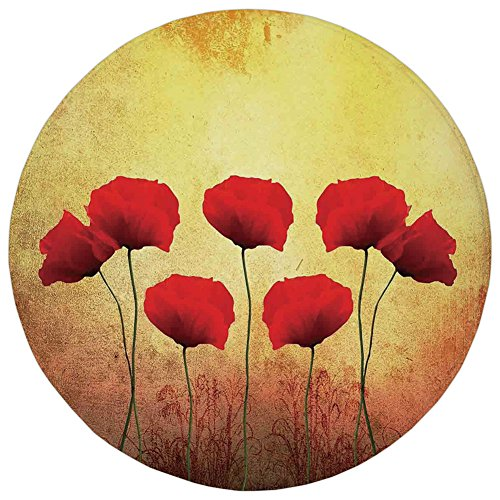 Round Rug Mat Carpet,Poppy,Poppies on An Old Aged Retro Featured Backdrop Design Past Days Drama Petals Artprint,Red Cream,Flannel Microfiber Non-slip Soft Absorbent,for Kitchen Floor Bathroom