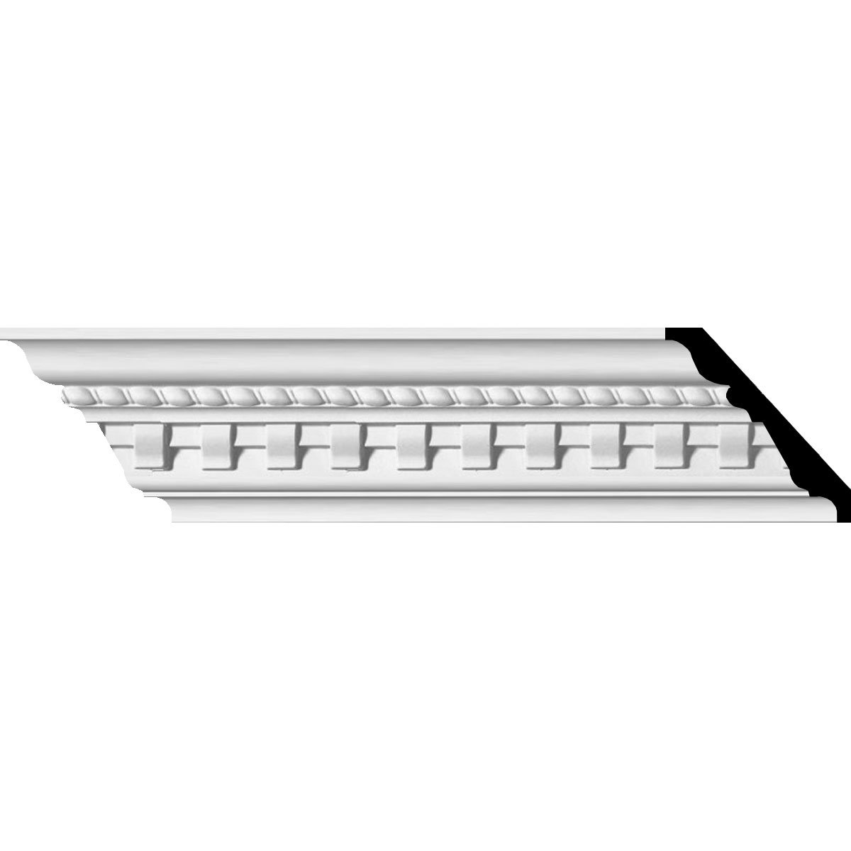 Ekena Millwork MLD04X04X05BU-CASE-8 3-1/2'' H x 3-7/8'' P x 5-1/8'' F x 95-5/8'' L Bulwark Dentil and Rope Crown Molding with 1-3/8'' Repeat (8-Pack)