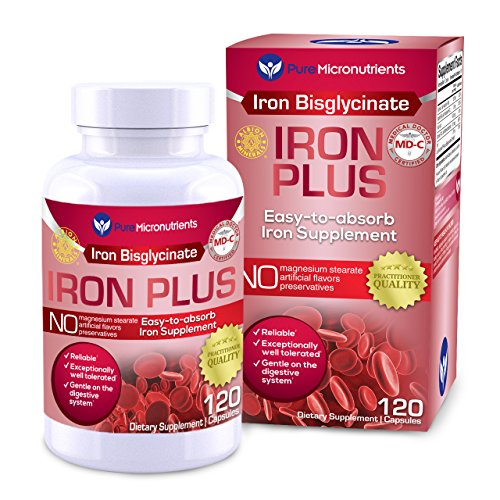 Iron Supplements - Pure Micronutrients Iron Plus Supplement, Natural Ferrous Chelate, Bisglycinate 25mg + Vitamin C, B6, B12, Folic Acid, 120 Count