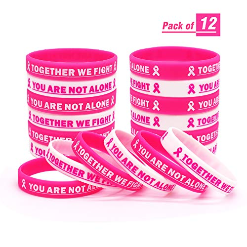 Breast Cancer Awareness Rubber Bracelet Ribbon Silicone Wristband with Saying Together We Fight, You are Not Alone. Gift for Patients, Family and Friends
