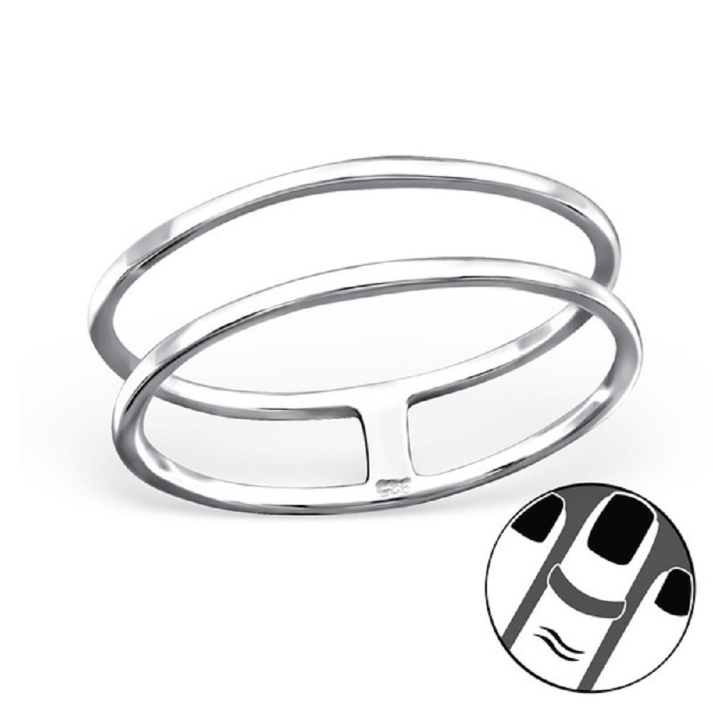 Pro Jewelry 925 Sterling Silver ''Double Rings'' Above Knuckle Ring Mid Finger or Toe Ring 20736