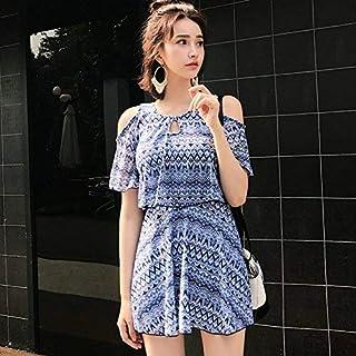 Qiusa Split Swirt Style Swimsuit Video Dimagrante Angolo Sottile Piatto, Ripple colorato a Due Pezzi, 4XL (Colore : Come Mostrato, Dimensione : Taglia Unica)