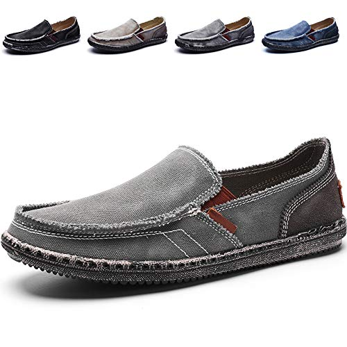 (CASMAG Men's Casual Cloth Shoes Canvas Slip-on Loafers Outdoor Leisure Walking Grey 11.5 M US)