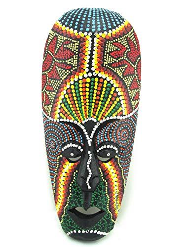 Blue Orchid Small African Mask - Hand Painted Aboriginal Dot Art - Tribal Tiki Masks Wall Hanging Decor (Moon Magic)