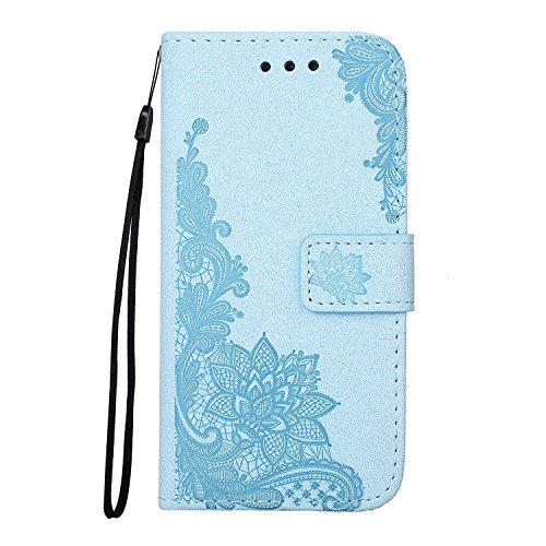 SRY-Caso sencillo Con la cuerda, la ranura para tarjeta y la caja de cuero de la PU del monedero y la contraportada de TPU Teléfono práctico clásico Shell para la galaxia J510 de Samsung Protección re Blue