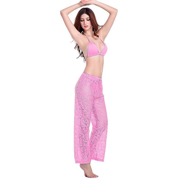 69373eb708 NiSeng Women's Beach Pants 1 Piece Beachwear Trousers anti UV Pink One size