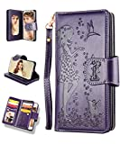iPhone Xs Max Case, iPhone Xs Max Wallet Case,FLYEE 9 Card Slots High Capacity PU Leather Magnetic Protective Cover with Mirror and Wrist Strap for iPhone Xs Max 6.5 inch Purple