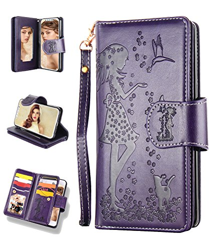 iPhone XR Case,iPhone XR Wallet Case,FLYEE 9 Card Slots High Capacity PU Leather Magnetic Protective Cover with Mirror and Wrist Strap for iPhone XR 6.1 inch Purple