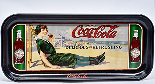 1987 - Coca-Cola Vintage Serving Tray - Coke Beach Lady Repro Ad - 19 x 8.5 Inches - Rare - Collectible
