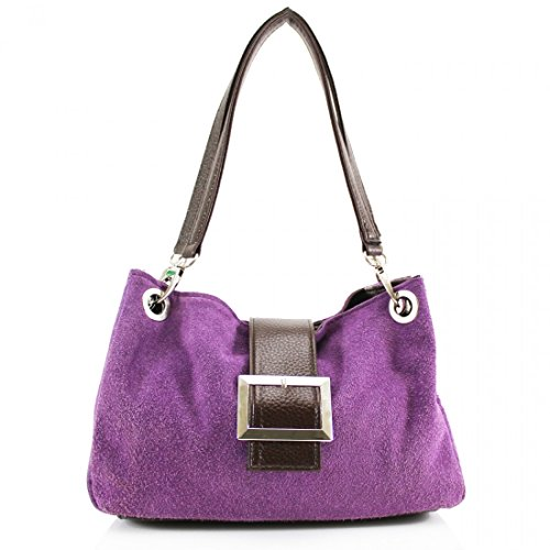 Women's Pockets Size Real Small Suede Ladies Purple For Shoulder Leather LeahWard With Three Bag Zip Women dC1qHEwd