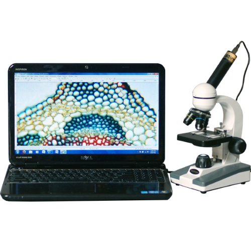 AmScope M148B-E Digital Compound Monocular Microscope, WF10x and WF20x Eyepieces, 40x-800x Magnification and Accessories