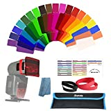 Arzroic Speedlite Flash Gels Filters Photography Lighting Color Correction Flash Gel Filter Kit for Canon Nikon Sony Yongnuo Neewer Godox Camera Flash Speedlight (19 Pieces)