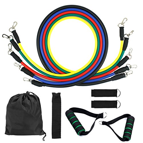 Dokpav Resistance Bands, Exercise Bands Include 5 Different Levels Exercise Bands, Door Anchor, Foam Handles, Ankle Straps and Carrying Bag for Workout by Dokpav