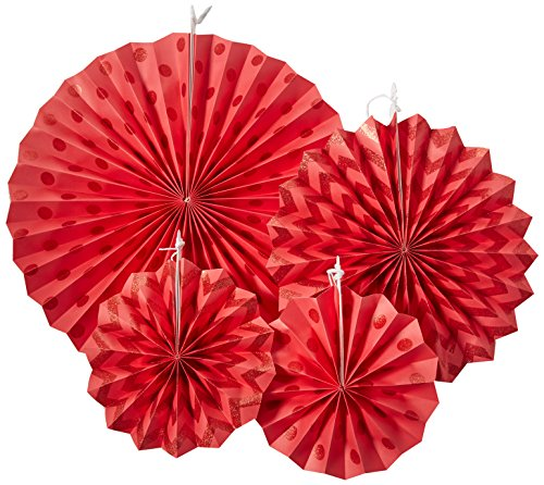 Apple Red Glitter Paper Fans | Party