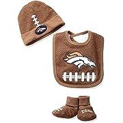 Gerber Childrenswear NFL New England Patriots Cap, Bootie & Bib Set, 0-6 Months, Brown