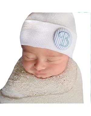 Blue Seersucker Covered Button Initial Newborn Boy Hospital Hat