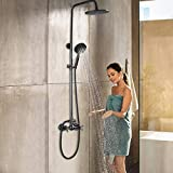 Toonshare Rain Shower System Set, Mixing 8 Inch Rainfall Shower Head with Handheld Spray Bathroom Shower Faucet - Oil Rubbed, Height Adjustable 40-46 inch