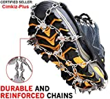 Ice Cleats Crampons Traction Snow Grips for Boots Shoes Women Men Kids Anti Slip 18 Stainless Steel Spikes Safe Protect for Hiking Fishing Walking Climbing Jogging Mountaineering