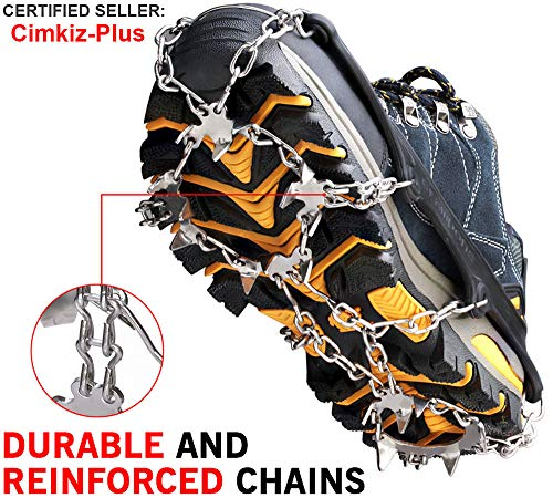 (Ice Cleats Crampons Traction Snow Grips for Boots Shoes Women Men Kids Anti Slip 18 Stainless Steel Spikes Safe Protect for Hiking Fishing Walking Climbing Jogging Mountaineering (Black-19 Spikes, XL))
