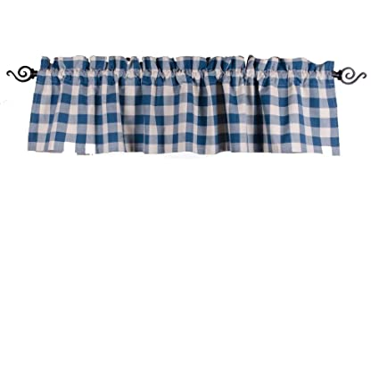 Home Collections by Raghu 72x15.5 Buffalo Check Colonial Blue-Buttermilk Valance