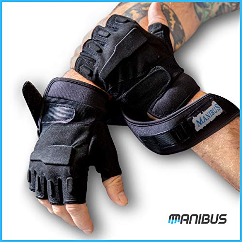 MANIBUS Premium Half Finger Gym Gloves with Wrist Support for Men & Women, Extra Grip Gloves Anti-Slip & Full Protection - Reduces Callus & Blisters - Great for All Fitness and Workout Activities