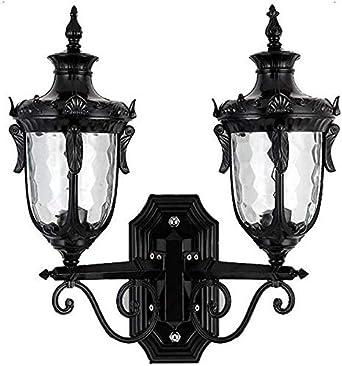Z&Z-Apliques de exterior Doble cabeza de la lámpara linterna pared de 2 luces exteriores de pared de luz apliques Villa Puerta de iluminación tradicional cableado E27 (Color : Black-b)