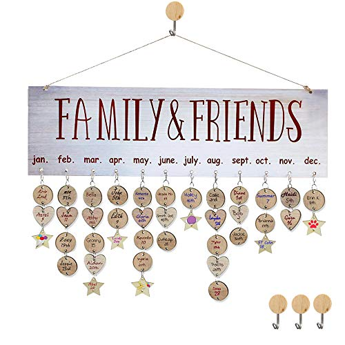 Gifts for Moms Dads Family Birthday Reminder Calendar Board Wall Hanging DIY Birthday Reminder Perpetual Calendar Plaque for Family & Friends & Classroom ()