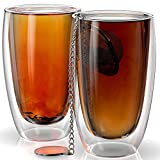 Stone & Mill Set of 2 Large Double Walled Glass Coffee Cups, Messina Collection, Insulated Mugs for Espresso, Latte, Cappuccino, Tea, Gift Box Set AM-08 15 ounce