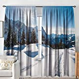 NUOMANAN Bathroom Curtains Winter,Panoramic Winter Scenery on Snow Covered Mountain with Sunny Weather and Trees Photo,White Blue,Drapes Thermal Insulated Panels Home décor 54'x72'