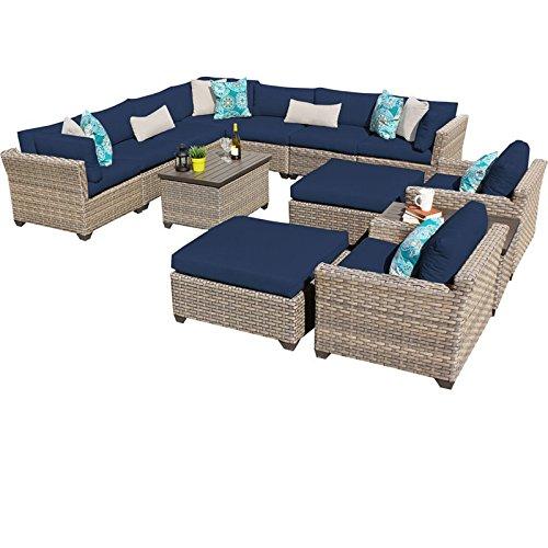 TK Classics MONTEREY-13a-NAVY Monterey 13 Piece Outdoor Wicker Patio Furniture Set, Navy