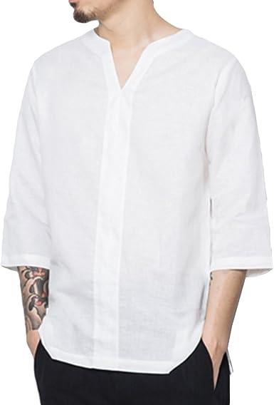 Camisa China De Lino De Los Hombres Floja Camisa con Cuello En V Ocasional De La Camisa Cómoda De Los Hombres De Color Sólido Pequeño: Amazon.es: Ropa y accesorios
