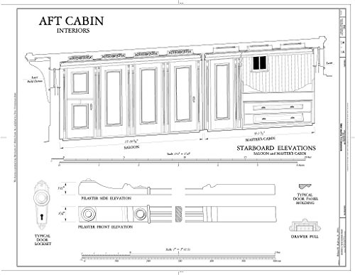 - Historic Pictoric Blueprint Diagram AFT Cabin, Interiors: Starboard Elevations (Saloon, Master's Cabin) - Schooner C.A. Thayer, Hyde Street Pier, San Francisco, San Francisco County, CA 14in x 11in