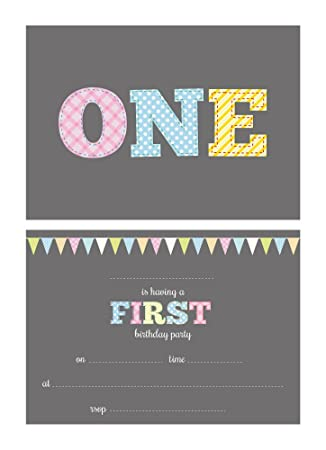 First Birthday Party Invitations 24 X A6 Postcard Size Cards Suitable For Girls And Boys With Envelopes