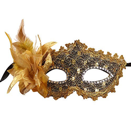 Masquerade Masks with Rhinestones, Women Girl Lace Eye Mask, Costume Cosplay Mask for Mardi Gras, Halloween Costume Party, New Year's Party ( Gold) ()