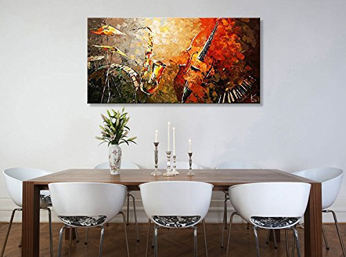 Everfun Art Hand Painted Large Oil Painting on Canvas Modern Music Instrument Wall Art Abstract Artwork Contemporary Hanging Stretched Ready to Hang (Framed 5628 inch) by EVERFUN ART