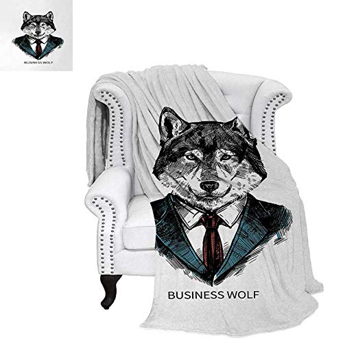 Weave Pattern Blanket Business Animal in Suit with Jacket Shirt and Tie Sketch Style Hipster Print Custom Design Cozy Flannel Blanket 60