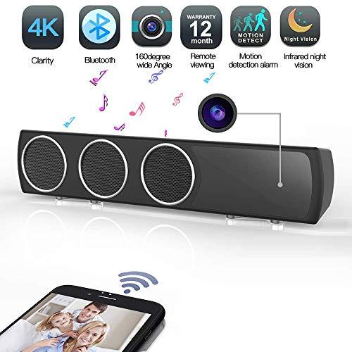 Transwe Hidden Camera Speaker Wireless HiFi - IR Night Vision Spy Camera Bass Enhanced Speaker 4K HD Surveillance Camcorder with Motion Detection Stereo Hi-Fi Nanny Cam for Home Security (Black)