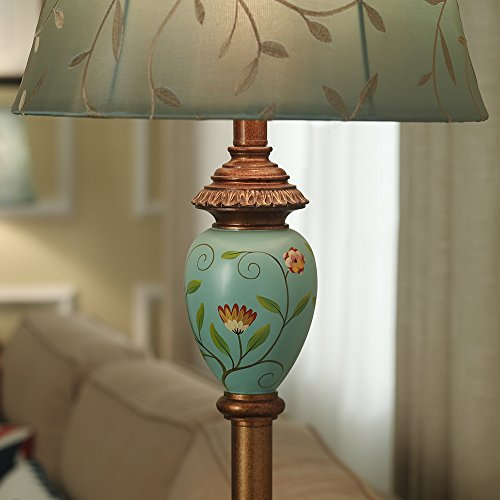 LampRight Classic European Country Style Hand Painted Retro Floor Lamp 64 inch - Traditional Elegant Resin Base with High Grade Embroidery Chameleon Imitation Silk Fabric Lampshade by Lamp Right (Image #4)