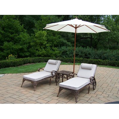 Oakland Living Elite Cast Aluminum 2 Cushioned Chaise Lounges with 18-Inch Side Table Plus 9-Feet White Umbrella and Stand