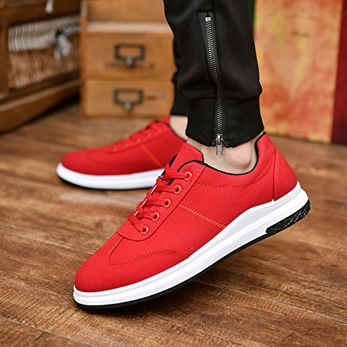 Sneaker 8 casual amp;Baby all'abrasione Color Suola Up Low Mocassini Scarpe Bianca piatta Canvas Red da Sunny MUS Top Resistente Lace uomo Dimensione qHEwOwC