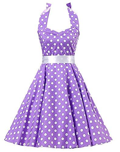 [Ensnovo Womens Vintage 50s Style Halter Lace Up Polka Dot Rockabilly Dress Purple M] (Rockabilly Costumes)