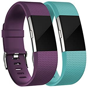 Replacement Accessories Bands for Fitbit Charge 2 (2 Pack), Plum and Teal, Small