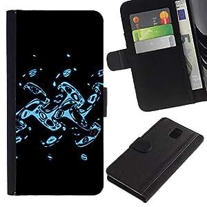 KingStore / Leather Etui en cuir / Samsung Galaxy Note 3 III / Abstract Splash
