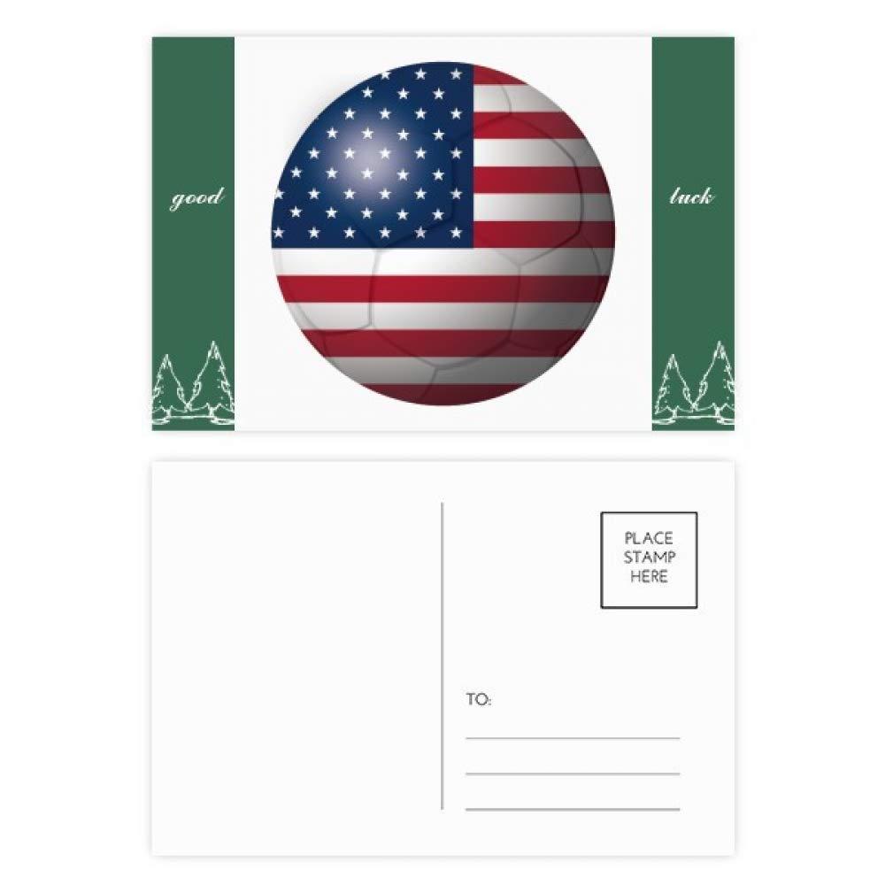 USA National Flag Soccer Football Good Luck Postcard Set Card Mailing Side 20pcs by DIYthinker (Image #1)