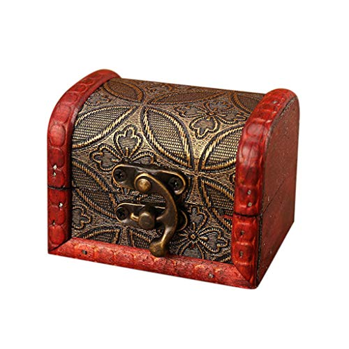 Loveso Jewelry Box Vintage Wood Handmade Box With Mini Metal Lock For Storing Jewelry Treasure Pearl (D)