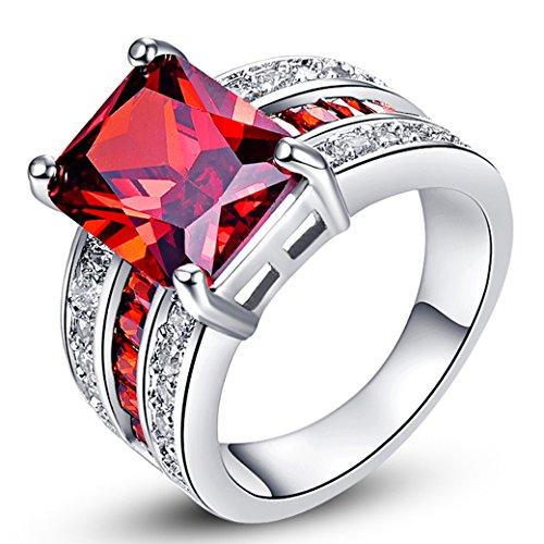Narica Women's Fashion 9mmx12mm Emerald Cut Garnet CZ Engagement Ring Band (Date Garnet Ring)